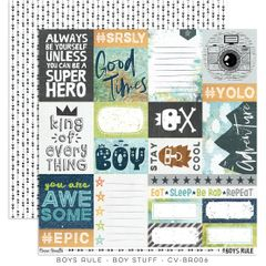 Cocoa Vanilla Studio Boys Rule Boy Stuff 12 x 12 Cardstock