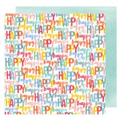 American Crafts Amy Tangerine Oh Happy Life 12 x 12 Double Sided Cardstock Happy