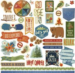 Photo Play Paper Campfire Collection -12 x 12 Element Stickers