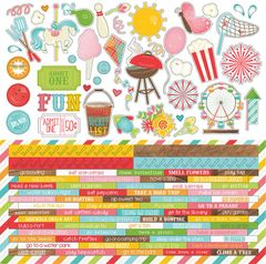 Photo Play Paper - Summer Bucket List 12 x 12 Cardstock Stickers - Elements Two