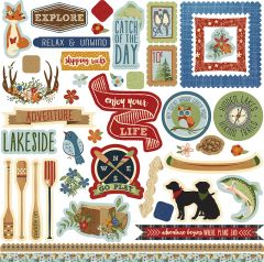 Photo Play Paper Lakeside Collection 12 x 12 Element Cardstock Stickers