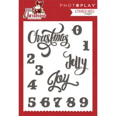 PHOTOPLAY MAD 4 PLAID CHRISTMAS Etched Dies Words