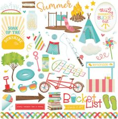 Photo Play Paper - Summer Bucket List 12 x 12 Cardstock Stickers Elements One