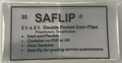 2.5 x 2.5 SAFlips 50 pack for safe storage or PCGS Submissions