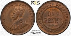 1922 English Obverse Penny PCGS Graded MS63BN