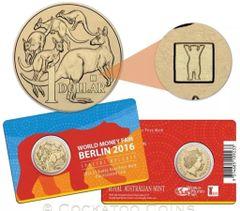 2016 World Money Fair WMF Berlin $1 Coin - Buddy Bear Privy Mark