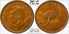 1950 Perth Penny PCGS Graded MS63BN