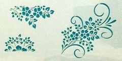Mini Flowers with Swirls Stencil