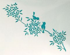 Birds on a Branch of Flowers Stencil