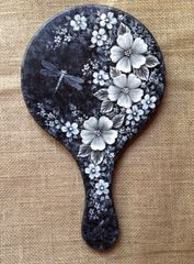 White on Black Brush Embroidery Flowers Hand Mirror Pattern