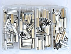 Aluminum Double barrel Crimp Kit 4 sizes Long Oval 1.5mm-2.3mm x 18mm