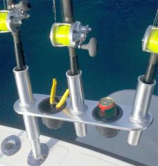 Offset Triple Rod Holder w/Cup Holders