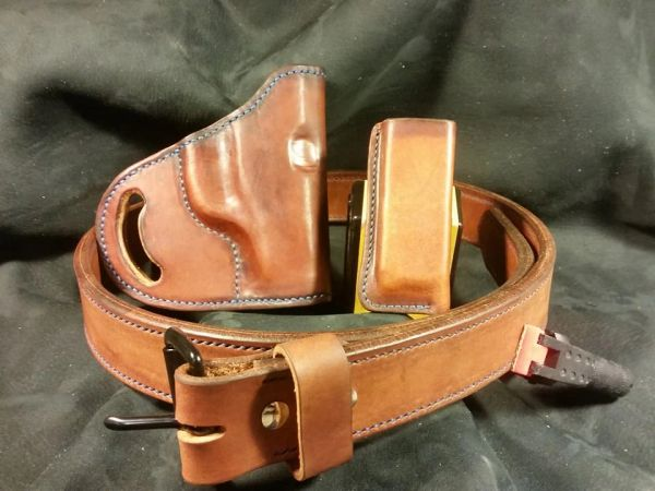 Hand Stitched Leather Belt,Holster and Magazine Pouch Set