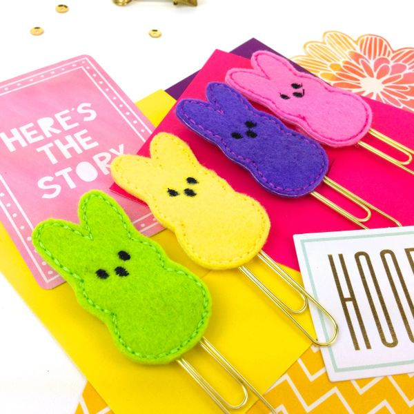 Easter bunny peep planner paper clip peep paper clip gifts todo felt easter bunny peep planner paper clips negle Gallery