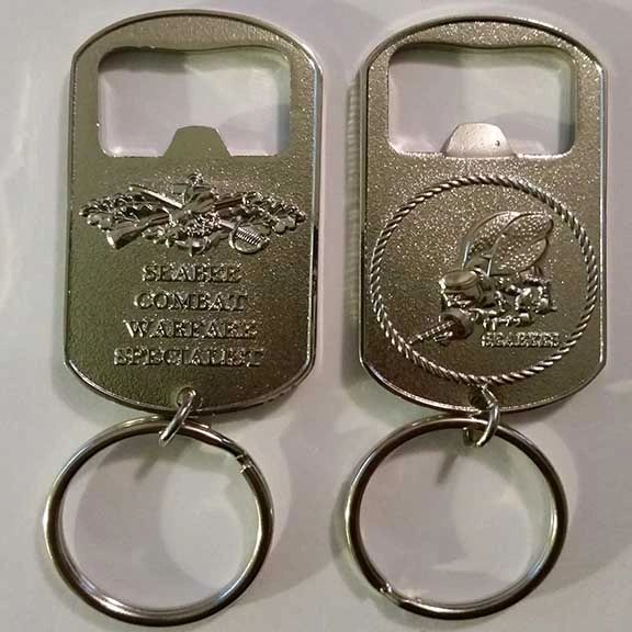 Seabee Combat Warfare Specialist Key Chain / Bottle Opener (Silver)