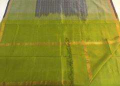 Venkatagiri Sarees - Silk Cotton - Pale Purple with Olive Green Checks, Border, Palla & Blouse Piece
