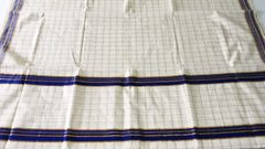 Kerala Sarees - Cotton - Off White with Blue Checks & Border
