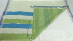 Mangalagiri Sarees - Cotton - White with Green & Blue Palla, Blue & Silver Zari Border & Green Blouse