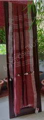 BHAGALPUR SLUB COTTON-DEEP RED AND SILVER-WITH BLOUSE