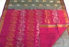 Venkatagiri Sarees - Silk - Pink Palla & Blouse and Silver & Gold Zari Butas & Border