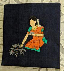 Women In Craft - Muggu Art - Cotton - Navy Blue with Orange Painting