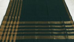 Venkatagiri Sarees - Cotton - Green with Gold Zari Stripes Border