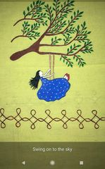 For Women By Women - Handwoven Cotton - Hand Painted - Swing on to the Sky - Yellow