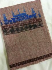 Monuments of Telangana - Chowmahalla Palace - Malkha - Light Brown with Blue, Brown & Black painting & Brown Ikkat Border