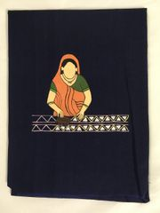 Women In Craft - Handblock Happiness - Cotton - Navy Blue with Orange Painting