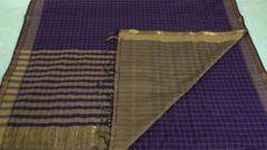 Mangalagiri Sarees - Cotton - Violet with Beige Checks, Palla, Border & Blouse