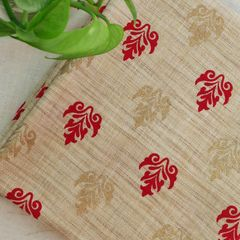 Printed Matka Silk- Red & Gold on Beige Background