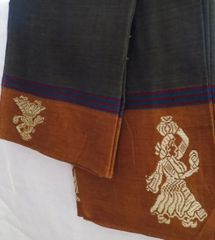 Handloom Cotton Gollabhama Pattern- Dull Green & Mustard