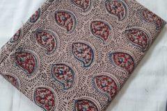 Kalamkari Printed Blouse Piece - Paisley Pattern - Red