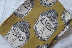 Kalamkari Printed Blouse Piece - Buddha Pattern - Silk Cotton - Gold & White