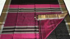 Maheshwari Sarees - Silk Cotton - Zari Border - Black with Pink Palla & Blouse and Gold Zari Border