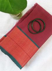 Handloom Cotton Blouse Piece - Zari Ilkal Style Border - Onion Pink