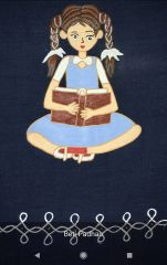 For Women By Women - Handwoven Cotton - Hand Painted - Beti Padhao - Navy Blue