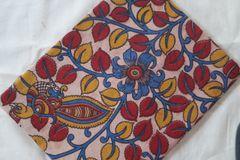 Kalamkari Printed Blouse Piece - Peacock & Vine Pattern - Beige Background