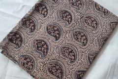 Kalamkari Printed Blouse Piece - Paisley Pattern - Coffee