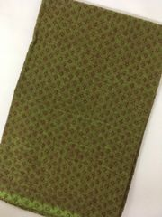 Cotton Jacquard Blouse Piece - Green shot with Brown with Brown Design