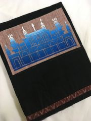 Monuments of Telangana - Chowmahalla Palace - Cotton - Black with Light Brown patch with Blue painting & Brown Ikkat Border