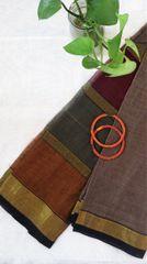 Handloom Cotton Striped Zari Big Border- Grey & Mustard