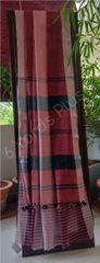 BHAGALPUR COTTON-DARK AND LIGHT RED-WITH BLACK AND RED STRIPED BLOUSE-BLACK BORDER