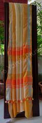 BHAGALPUR COTTON-LIGHT ORANGE AND YELLOW SAREE-WITH BLOUSE-SILVER AND ORANGE BORDER