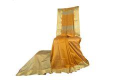 Maheshwari Sarees - Silk Cotton - Satin Border - Mustard with Cream Border