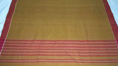East Godavari Cotton Sarees - Cotton - Ocher with Brick Red Border & Palla with Running Blouse