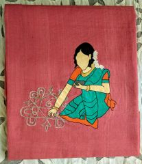 Women In Craft - Muggu Art - Cotton - Pink with Green Painting