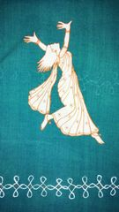 For Women By Women - Handwoven Cotton - Hand Painted - Dance with Abandon - Teal
