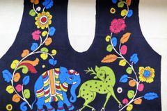Kalamkari Handpainted Blouse Piece - Black Base - Deer & Elephant
