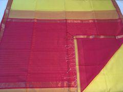 Maheshwari Sarees - Silk Cotton - Small Zari Border - Bright Yellow with Pink Palla & Blouse